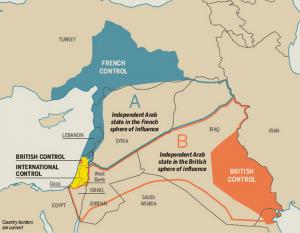 مرزهای تقریبی قرارداد سری سایکس پیکو